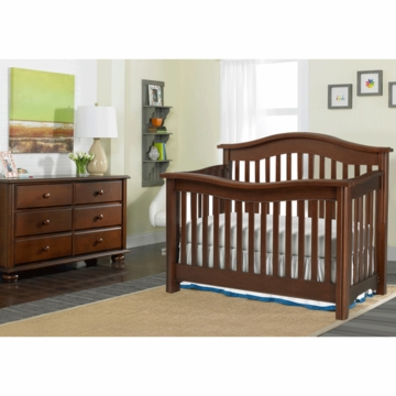 Bonavita Kinsley Lifestyle 2 Piece Nursery Set in Chocolate - Lifestyle Crib & Double Dresser