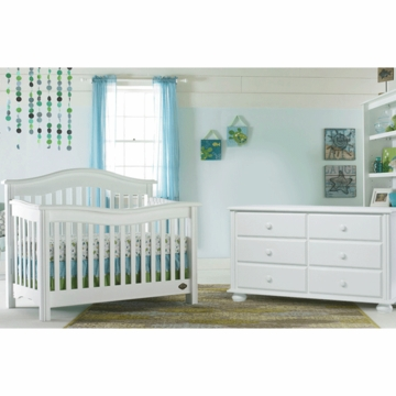 Bonavita Kinsley Lifestyle 2 Piece Nursery Set in Classic White - Lifestyle Crib & Double Dresser