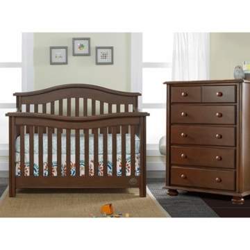Bonavita Kinsley Lifestyle 2 Piece Nursery Set in Chocolate - Lifestyle Crib & 5 Drawer Dresser