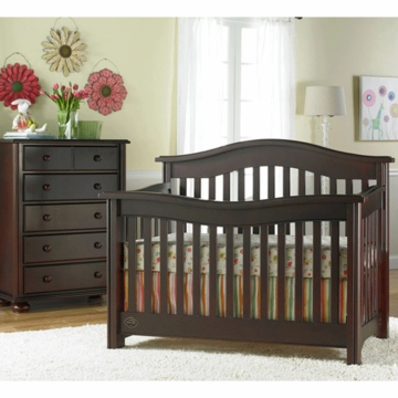 Bonavita Kinsley Lifestyle 2 Piece Nursery Set in Classic Cherry - Lifestyle Crib & 5 Drawer Dresser
