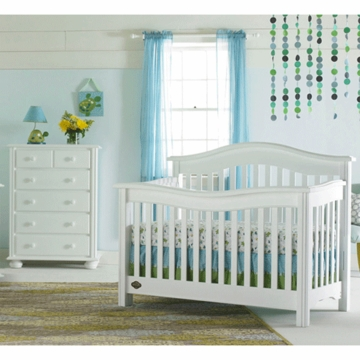 Bonavita Kinsley Lifestyle 2 Piece Nursery Set in Classic White - Lifestyle Crib & 5 Drawer Dresser