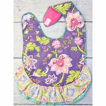 Caden Lane Toddler Bib - Purple Garden  (Limited Edition)