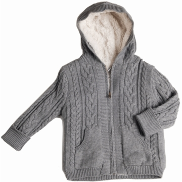 EGG Cable Faux Fur Cardigan in Grey - 6 to 12 Months