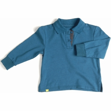 EGG Long Sleeve Polo in Lake - 6 to 12 Months