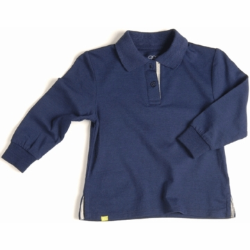 EGG Long Sleeve Polo in Navy - 3 to 6 Months