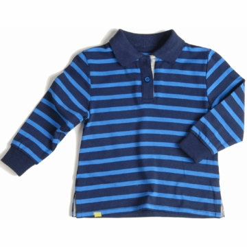 EGG Long Sleeve Polo in Navy Stripe - 3 to 6 Months