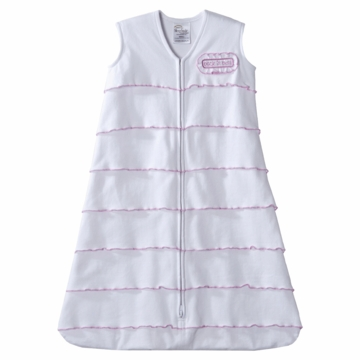 Halo SleepSack Cotton Wearable Blanket, White & Pink, Small