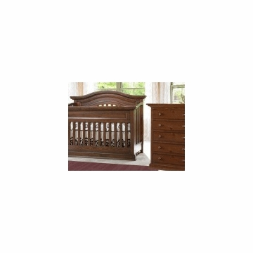 Bonavita Belmont Lifestyle 2 Piece Nursery Set in Dark Walnut - Lifestyle Crib & 5 Drawer Dresser
