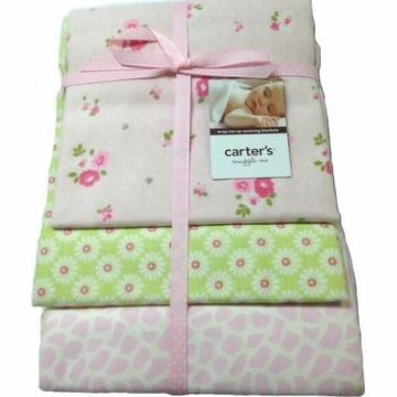 Carter's 3-Pack Wrap-Me-Up Receiving Blankets Pink/Green Floral