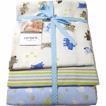Carter's 3-Pack Wrap-Me-Up Receving Blankets - Blue Puppy