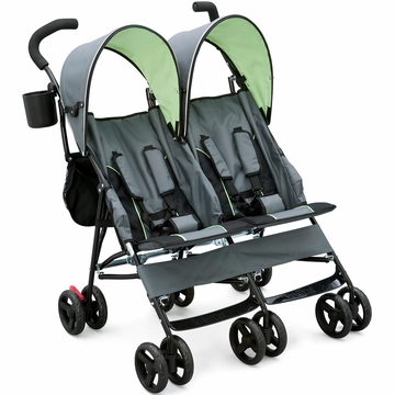 Delta LX Side by Side Umbrella Double Stroller - Grey / Lime