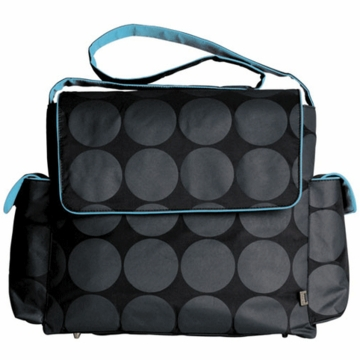 OiOi Grey Dot  with Blue Interior Messenger Diaper Bag