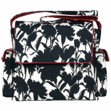OiOi Black and White Floral Messenger Diaper Bag
