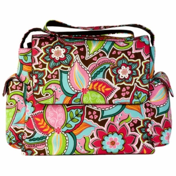OiOi Pink Floral Bouquet Messenger Diaper Bag