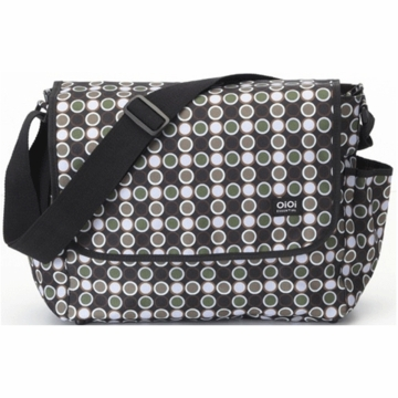 OiOi Black Bionic Dot Messenger Diaper Bag