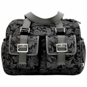 OiOi Black Floral Jacquard Carry All Diaper Bag