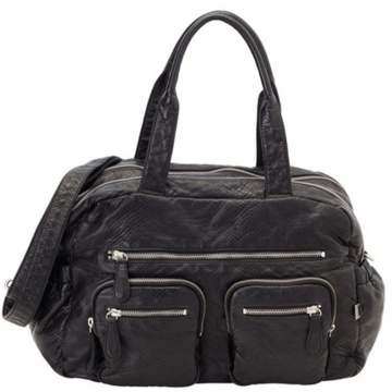 OiOi Faux Lizard Carry All Diaper Bag in Black