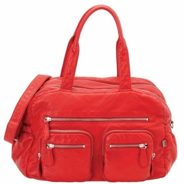 OiOi Red Faux Lizard Carry All Diaper Bag