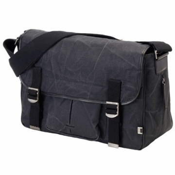 OiOi Black Waxed Canvas Diaper Bag