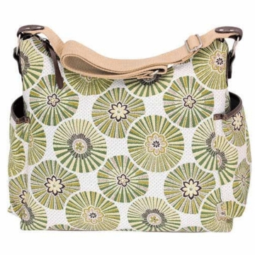 OiOi Green Floral Disc Hobo Diaper Bag