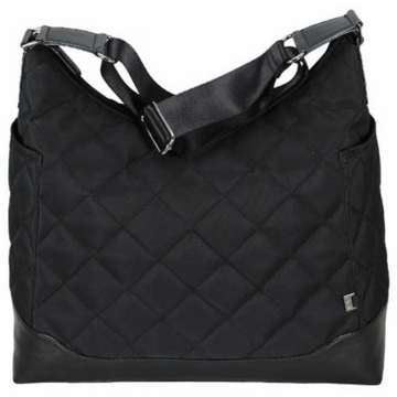 OiOi Diamond Quilted Black Hobo Diaper Bag