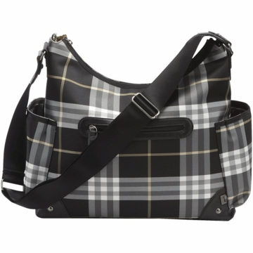 OiOi Black Check Hobo Diaper Bag