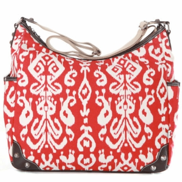 OiOi Red Ikat Hobo Diaper Bag