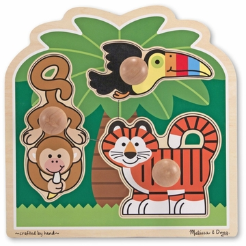 Melissa & Doug Rainforest Friends Jumbo Knob Puzzle - 3 Pieces