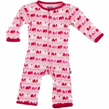 KicKee Pants Print Coverall - Girl Elephant - 6 to 12 Months