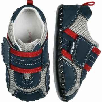 Pediped Adrian Navy/Grey/Red Leather Shoe - Xtra Small (0 to 6 Months)