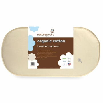 Naturepedic Organic Cotton Oval Bassinet Mattress 13x29x1.5 - Natural
