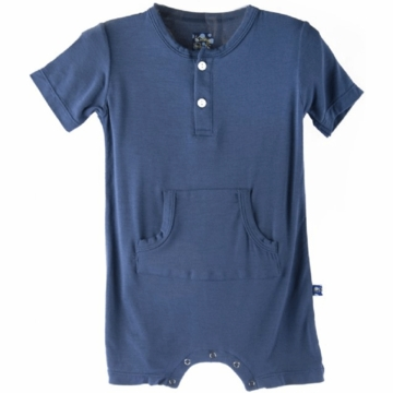 KicKee Pants Solid Kangaroo Romper Twilight - 3 to 6 Months