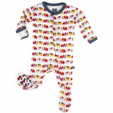 KicKee Pants Print Footie - Boy Elephant - 6 to 12 Months