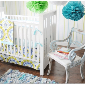 New Arrivals Indigo Summer 4 Piece Baby Crib Bedding Set