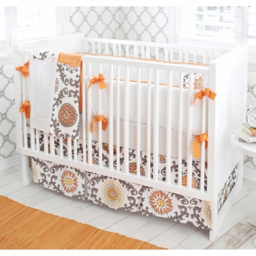 New Arrivals Ragamuffin Tangerine 4 Piece Baby Crib Bedding Set