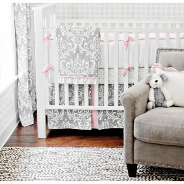 New Arrivals Stella Gray 4 Piece Baby Crib Bedding Set