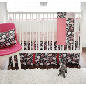 New Arrivals Urban Zoo in Pink 4 Piece Baby Crib Bedding Set