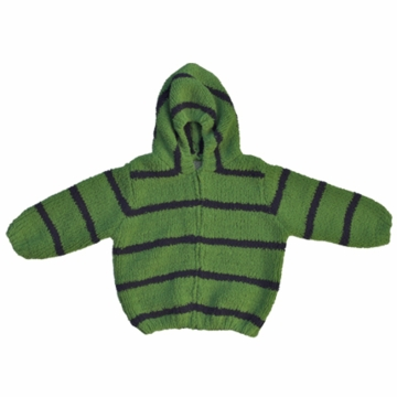 Angel Dear Classic Hooded Jacket in Apple Green/Navy  - 12 Months