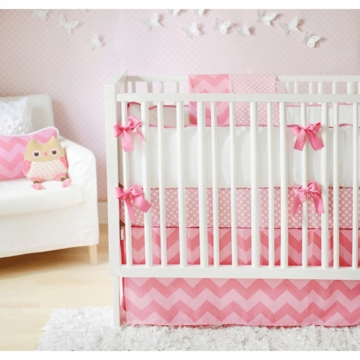 New Arrivals Zig Zag Pink Sugar 4 Piece Baby Crib Bedding Set