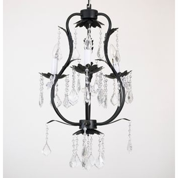 CoCaLo 3 Light Chandelier - Black with Clear Crystals