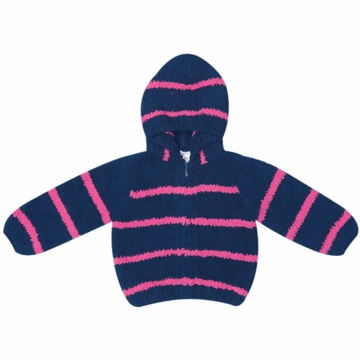 Angel Dear Classic Hooded Jacket in Fuchsia/Navy  - 12 Months