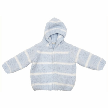 Angel Dear Classic Hooded Jacket in Light Blue/Ivory  - 12 Months