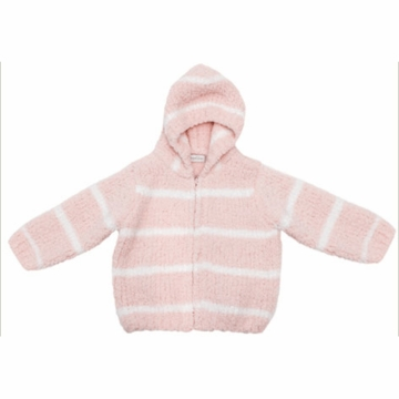 Angel Dear Classic Hooded Jacket in Pretty Pink/Ivory  - 4T