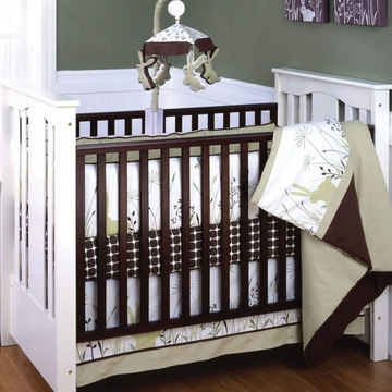 KidsLine Organic Bunny Meadows 4 Piece Crib Set