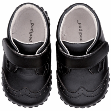 Pediped Ashton Black Leather Wingtips - Small (6 to 12 Months)