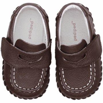 Pediped Charlie Chocolate Brown Leather Penny Loafers - Xtra Small (0 to 6 Months)
