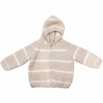 Angel Dear Classic Hooded Jacket in Taupe/Ivory  - 18 Months