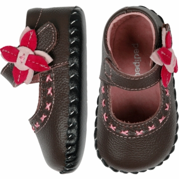Pediped Eva Chocolate Brown Leather Mary Jane Shoes - Xtra Small (0 to 6 Months)