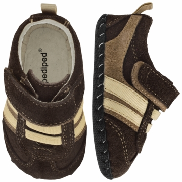 Pediped Frederick Brown/Cream Fashion Sneakers - Xtra Small (0 to 6 Months)