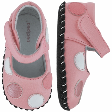 Pediped Giselle Mid Pink Leather Mary Jane Shoes - Medium (12 to 18 Months)
